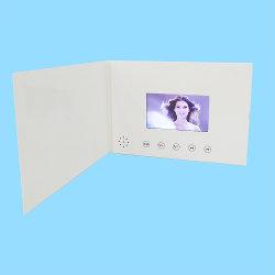 4.3 polegadas vídeo em branco Brochura cor branca pasta mp4 com 5 botões de cartões de felicitações