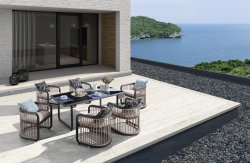 현대 최신 판매 전체적인 알루미늄 식사 의자 및 테이블 옥외 정원 가구