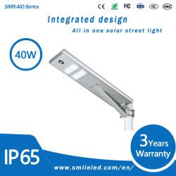 IP65 Resistente al agua en el exterior de la luz de calle solar integrada en una sola luz LED para iluminación de carretera