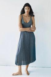 Sommer Frauen Strickmode Plissee Röcke Mode Lurex Bekleidung Casual Cotton Kleid