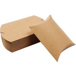 Kraft almohada dulces para Boda a favor de caja de papel jabón
