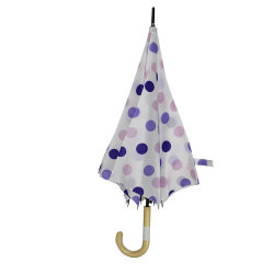 Paraíso duradera Dama directamente la lluvia paraguas con un punzón de peso ligero Costillas de fibra de vidrio.