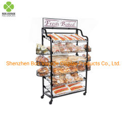 Su ordinazione schioccare in su il cestino della visualizzazione del pane del nastro metallico per il supermercato
