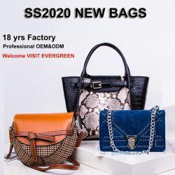 As mulheres de couro Real genuíno de Lona Bolsas Malas de senhora Linga Designer de bolsas de lona ombro sacos de mão por grosso elegante mala Guangzhou Factory