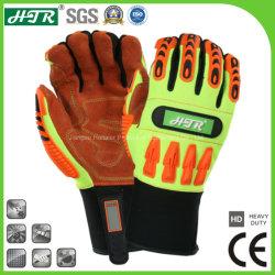 Против воздействия огнестойкие промышленные защитные Механические узлы и агрегаты из натуральной кожи крупного рогатого скота безопасности рабочие перчатки с TPR