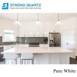 Piani di lavoro da banco in pietra di quarzo con design in puro bianco