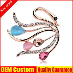 Custom оптовой высокое качество моды Swan Rhinestone Crystal Brooch металла