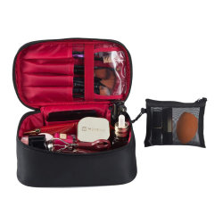 Toiletry van de Reis van de Douane van de verdeler de In het groot Zwarte Nylon Kosmetische Zak van de Make-up