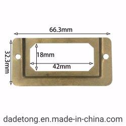 Etiqueta de metal latão antigo puxe a alça da estrutura do Cartão de Nome de arquivo para a caixa da gaveta. Acessórios de hardware/Label bares/estrutura de bares de Tag