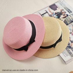 Ronda de la cinta de paja de la parte superior plana señoras Playa gorras sombreros de verano