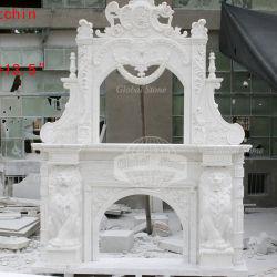 Lado esculpidas em mármore branco Carving lareira de pedra (GSMF-176)