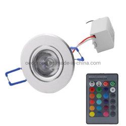 AC85-265V/12 فولت 45 درجة 3واط ضوء LED في السقف RGB لأسفل خفيف