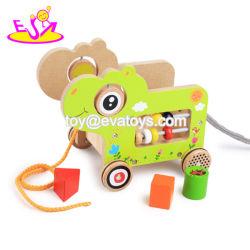 Nova melhores engraçado puxar de madeira ao longo de brinquedos carros para as crianças W05b166