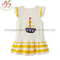 최신 판매 줄무늬 Frock 디자인 아플리케를 하는을%s 가진 작은 소녀 복장