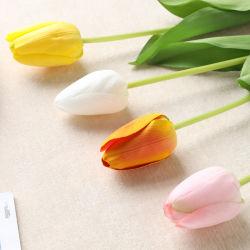 La decoración de bodas al por mayor el falso tallo único Blanco Amarillo rosa verdadero toque de seda artificial Tulip Flower