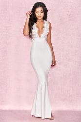 Mulher branca vestido Maxi profunda Lace V-pescoço longo vestidos vestido Sexy Noite Prom Dress