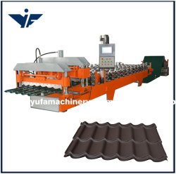 Il PLC gestisce il rullo lustrato colorato delle mattonelle di tetto dell'acciaio freddo 1100 che forma le mattonelle di punto della macchina che formano il macchinario
