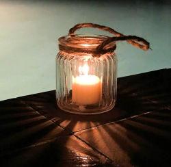 LED를 위한 거는 유리제 촛대 또는 왁스 휴대용 밧줄을%s 가진 유리제 초 컵