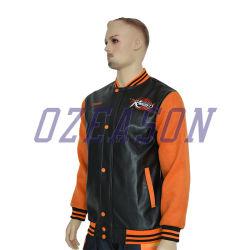 Commerce de gros broderie personnalisée de mode de haute qualité des blousons de cuir pour hommes (TJ001)