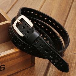 Neues Form-Oberseite-Korn-echtes Leder-Rindleder-neue Entwurfs-Goldpin-Faltenbildung-Dame Belt Women Belt der Ankunfts-2020
