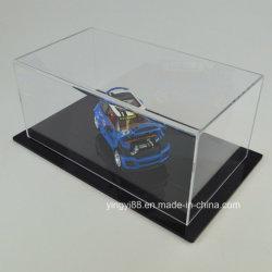 Nouveau modèle de voiture acrylique clair Afficher cas avec base noire