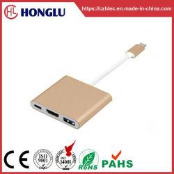 Tipo C macho para fêmea HDMI+USB3.0 Fêmea Conversor+PD
