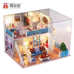 2 des Fußboden-3D Hausdollhouse-Miniaturen 2019+Miniature hölzernes Dollshouse Puzzlespiel-des Traum-DIY