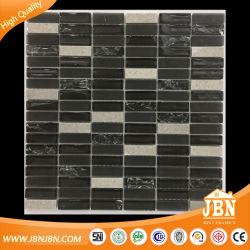 Back Splash Tile Building Material Black Crackle Glass Mosaic and Marble Mosaic(M458001)