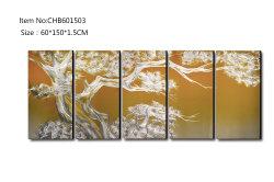 松の木3Dの金属のアルミニウム絵画100%ハンドメイドの現代ホーム壁の芸術