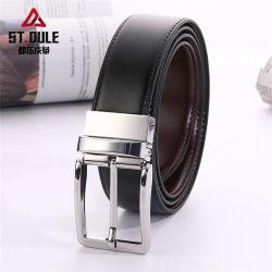 Commerce de gros de la mode Pin durables en tournant la boucle de ceinture en cuir de vache divisé noir et brun 3.3cm de la courroie de la largeur de sangle réversible