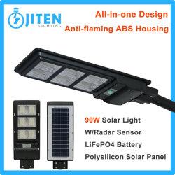 90W LED Solar Luz de rua com comandos do sistema de Potência para a parede exterior do pátio com jardim Street Park Usar Alta Industrial Iluminação do Compartimento da lâmpada da canópia
