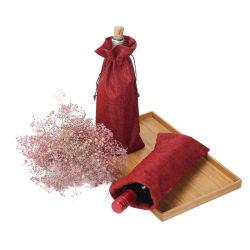 حقيبة قطن بني خيط جنو حقيبة صغيرة مطبوعة درج تسوق حقيبة نبيذ من الأتربة وبياضات صديقة للبيئة