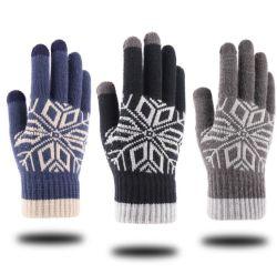 맞춤형 패턴 터치스크린 장갑 스트레칭 니트 메커니즘 장갑 겨울은 따뜻함 여성용 남성용 장갑