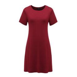 Женщин в непринужденной обстановке короткие втулки туника платья переключения с карманами