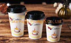 紙コップの熱い飲むペーパーコーヒーカップの安いコーヒー・マグはふたとの安い8oz 9ozガラス使い捨て可能なPapercupをカスタム設計する