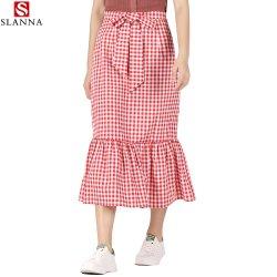 Женщина плотно Клетчатую Vintage средней длины Fishtail тонкий леди проверьте юбки