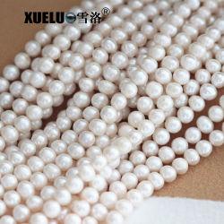 8-9 مم AB الجودة أبيض رخيص طبيعي خلاب سلسلة من الخيوط المثقوبة للمياه العذبة، لؤلؤة زوجي (XL180018)