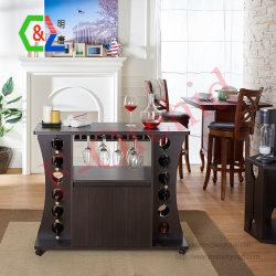 Jardín Norte Espresso mesa de buffet con estante de vino de Madera Armario Bar