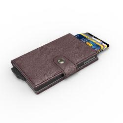 PU Carteira de couro dinheiro Metal Alumínio Clip Pop-up caso Cartão Design Wallet para homens