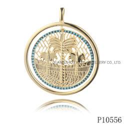 albero di noce di cocco di doratura elettrolitica 14K con il pendente dell'argento del turchese