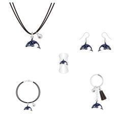 簡単で標準的なデザイン白黒真珠のイルカの宝石類セット