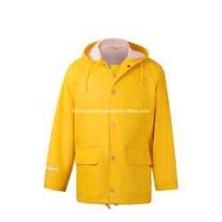 Fabrication de gros de vêtements de travail Mens Veste pluie polyuréthane à haute fréquence