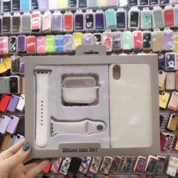 3en1 Teléfono Funda de silicona líquida tapa móvil Correa de reloj para el iPhone/ Airpods PRO