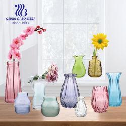 Auf Lager farbiger und bereifter Hauptdekor-Glasware-Blumen-Glas-Vase
