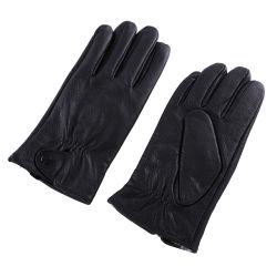 Luvas pretas de couro de inverno para a condução de andar vestido com luvas de couro