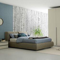 Высокое изголовье кровати мягкой королевы короля размер кадра ткань постельное белье деревянные кровати