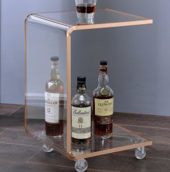 Comercio al por mayor costumbre claro acento del lado de acrílico moderna mesa de café para un espacio pequeño Salón