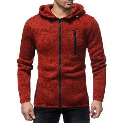 우연한 두건이 있는 태양열 집열기 뜨개질을 한 카디건 스웨터를 바느질하는 형식 지퍼