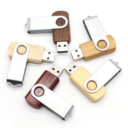회전대 나무로 되는 USB 저속한 지팡이 4GB 8GB 16GB 32GB 로고에 의하여 주문을 받아서 만들어지는 목제 U 디스크