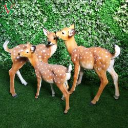 LED de resina de fibra artificial esculturas de artes de rena para jardim